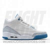 WS Air Jordan Retro 3 White Harbor Blue Boarder Blue 315296-142 Super Deals M6MXa