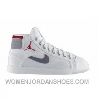 Air Jordan Sky High Canvas White Varsity Red Cement Grey 407282-101 Authentic