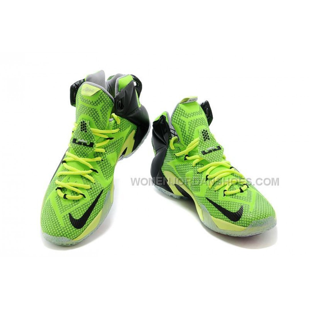 nike lebron 12 neon green black silver for sale price