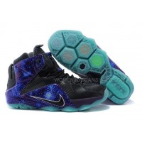 "Nike LeBron 12 ""Galaxy"" Black and Luminous Blue Mens Athletic Fo"