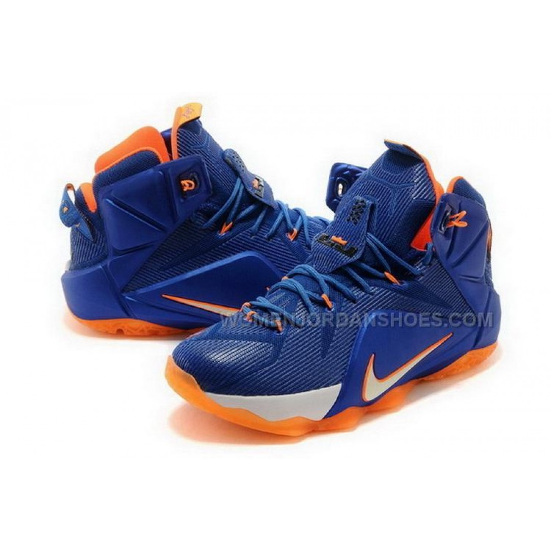 Buy Cheap Nike Lebron 12 2015 Blue White Orange Mens Shoes ...