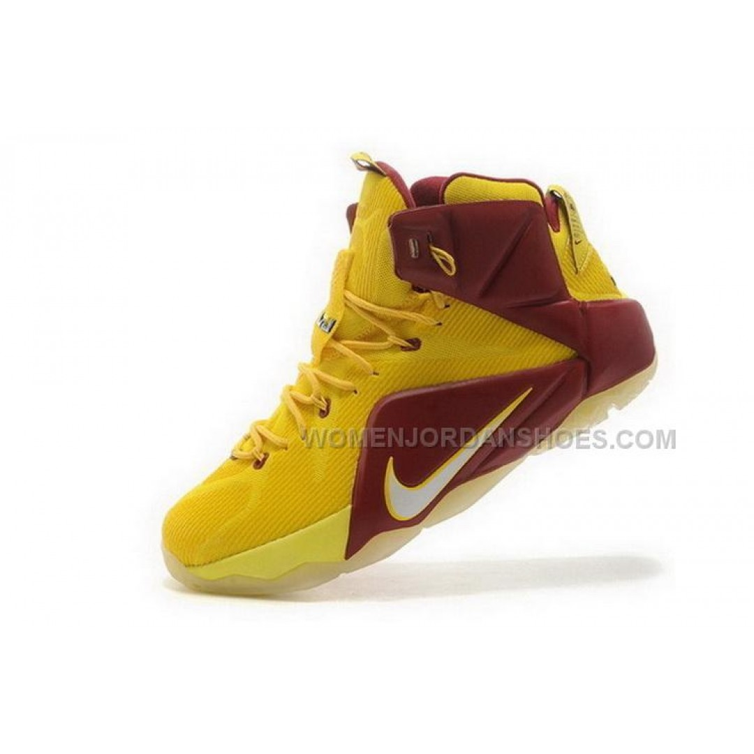 ... Buy Cheap Nike Lebron 12 2015 Yellow Red Mens Shoes ...
