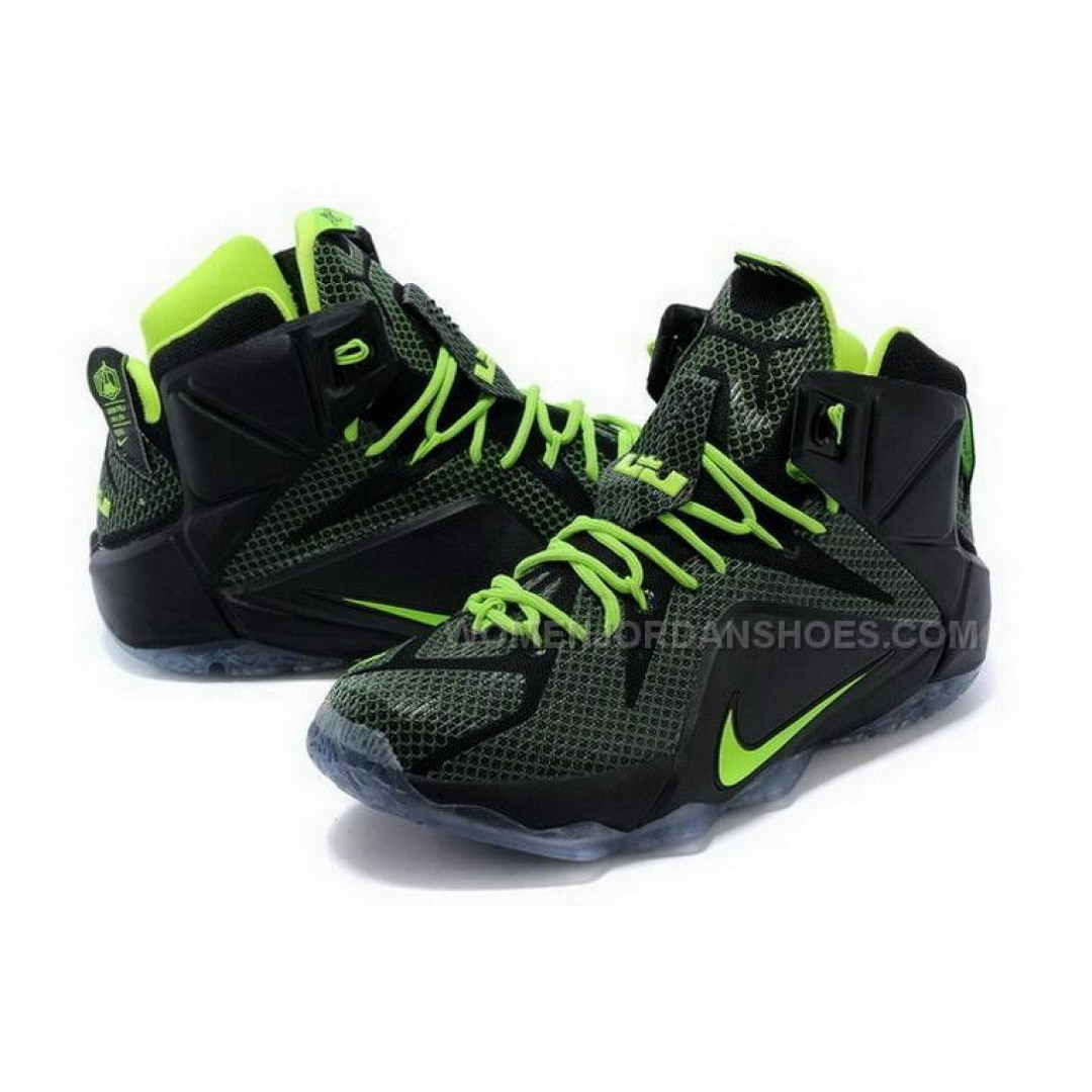 Buy Cheap Nike Lebron 12 2015 Black Green Blue Mens Shoes ...