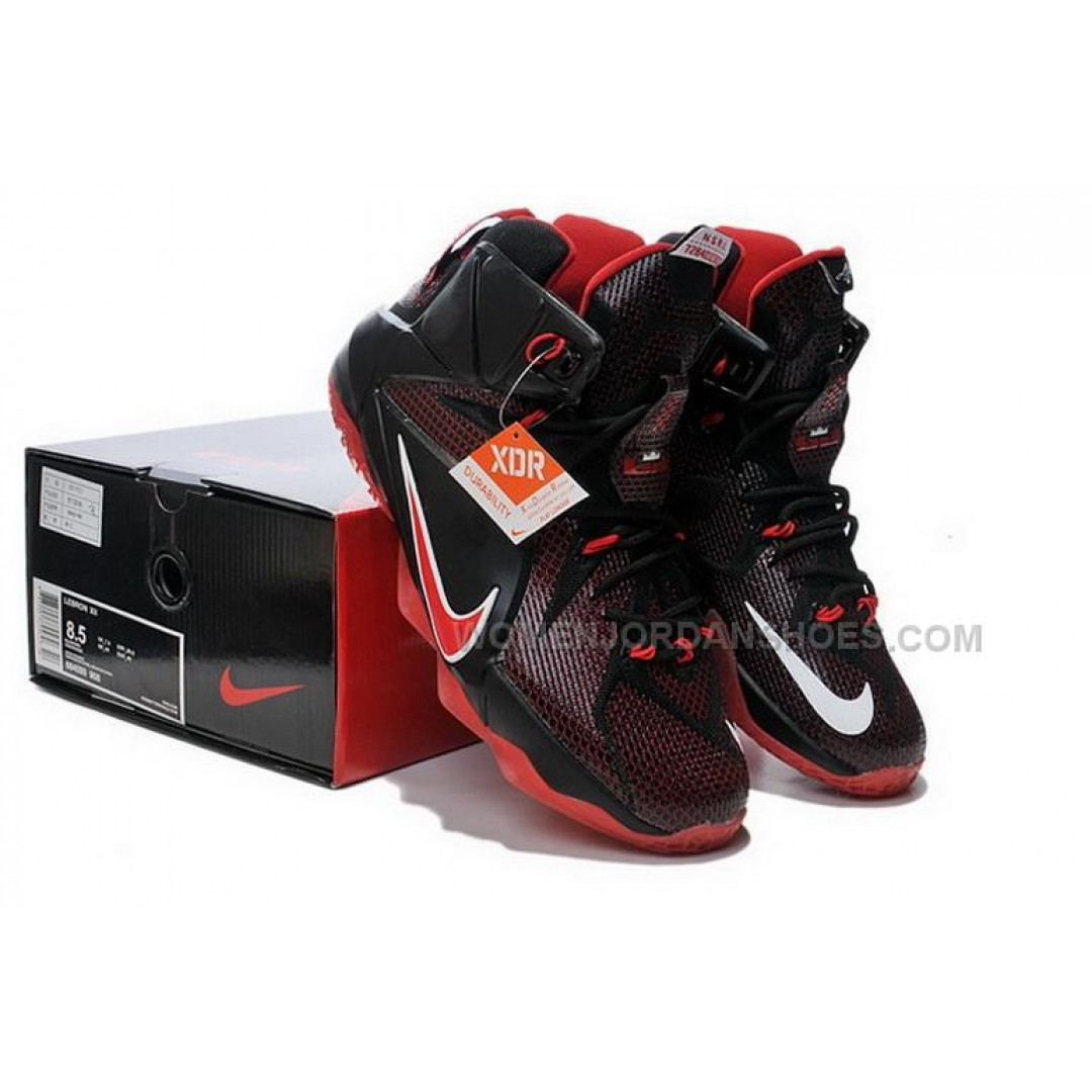 buy cheap nike lebron 12 2014 black red mens shoes price