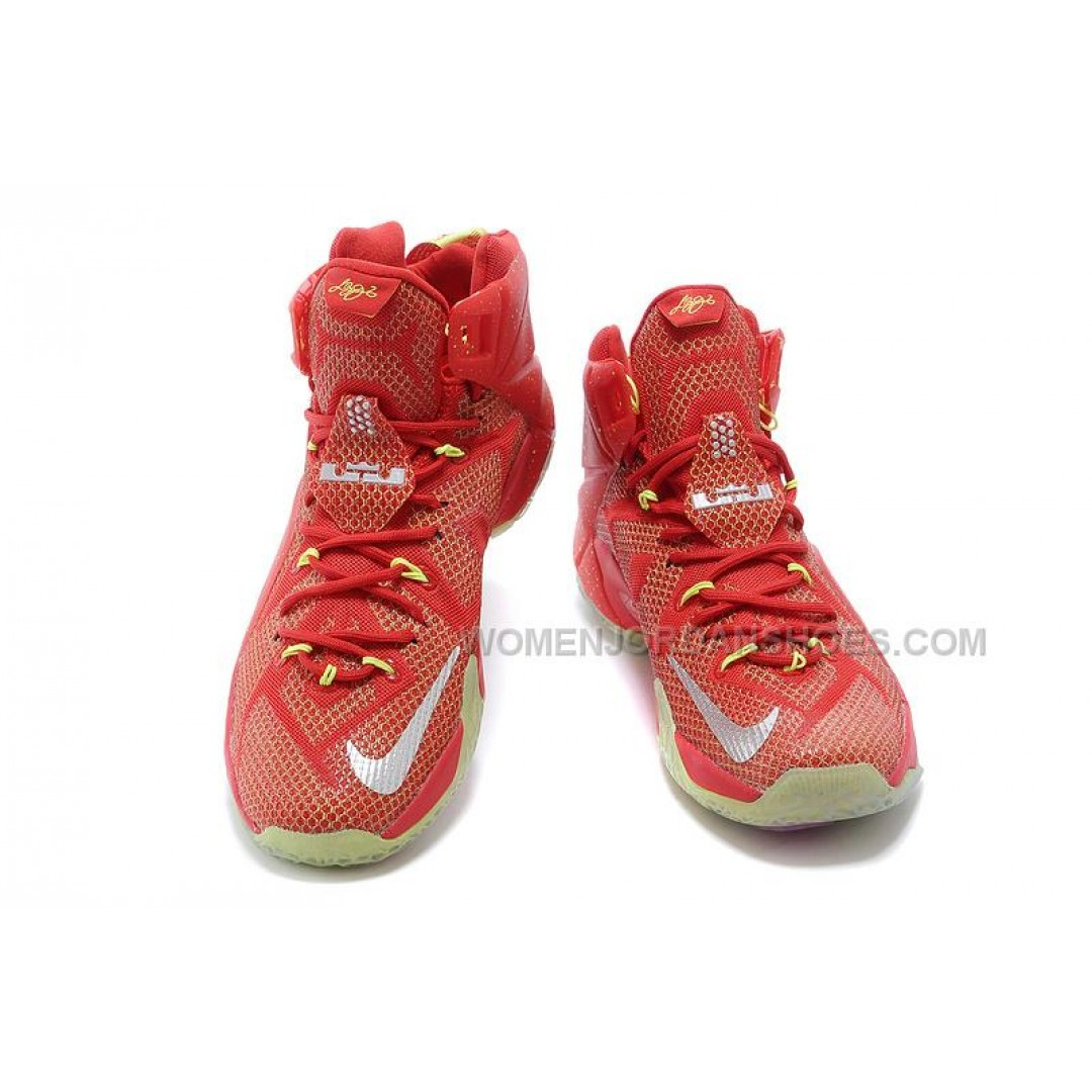 Cheap Nike LeBron 12 Red Silver Volt Basketball Shoes Sale ...