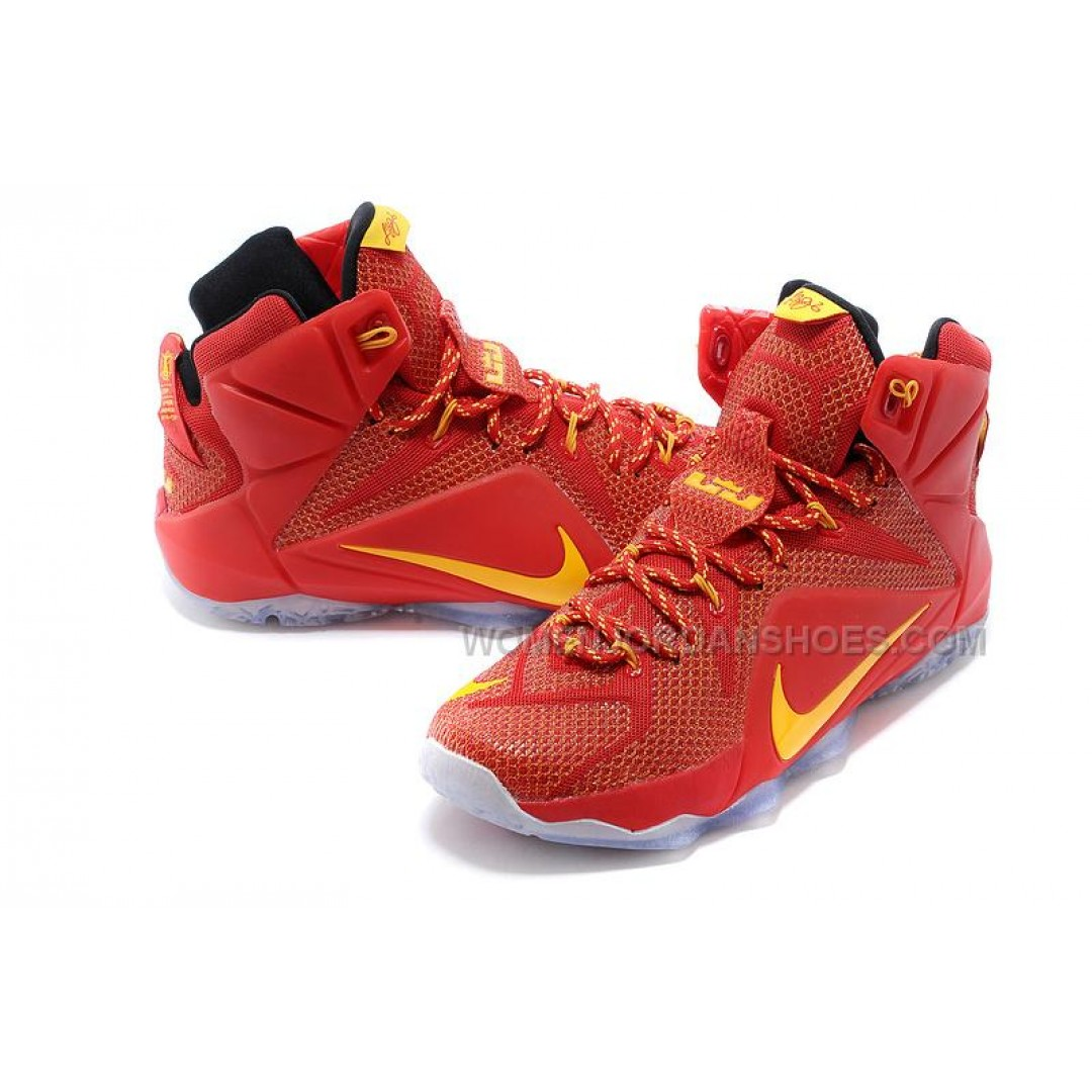 Cheap Nike LeBron 12 Red Yellow PE Basketball Shoes For ...
