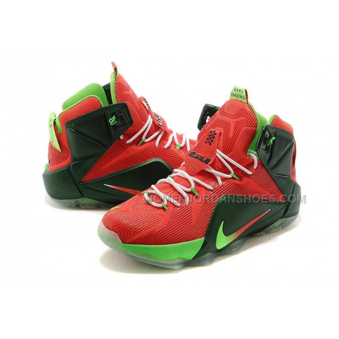 Cheap Nike LeBron 12 Red Green White Basketball Shoes Sale ...