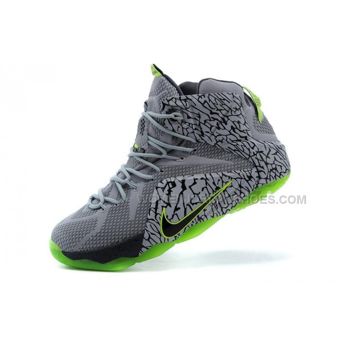 Cheap Nike LeBron 12 Grey Green Basketball Shoes Online ...