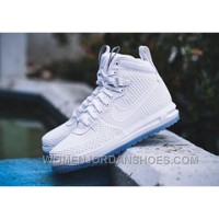 Nike Lunar Force 1 Duckboot 806402-100 High Top White Crystal Blue