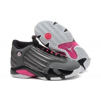 Girls Air Jordan 14 Retro GS Metallic Dark Grey/Black-White-Hyper Pink Sale