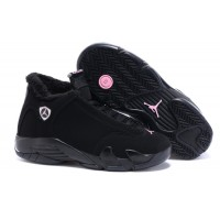 air jordan 14 women suede fur winter shoes black pink
