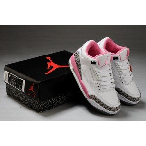 Women Air Jordan 3 Retro White Pink Cement Grey