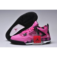 Women Air Jordan 4 Print Fuchsia Black