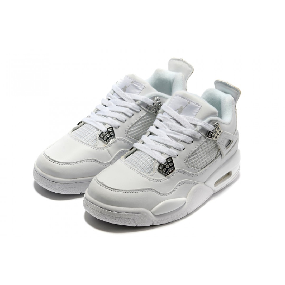 women air jordan 4 white metallic silver pure money. Black Bedroom Furniture Sets. Home Design Ideas