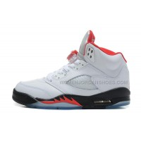 Air Jordan 5 Retro Womens White/Fire Red-Black Girls For Sale
