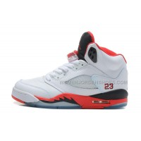 "Air Jordan 5 Retro Womens ""Fire Red/Black Tongue"" For Girls"