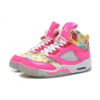 "Nike Air Jordan 5 ""Floral"" Pink White Online Sale For Girls"