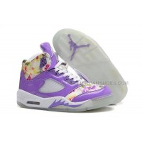 "Nike Air Jordan 5 ""Floral"" Girls Purple White Online For Sale"