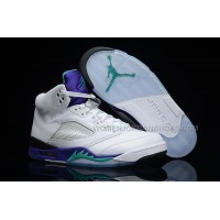 Air Jordan 5 Retro GS White/New Emerald-Grape-Ice Blue Womens
