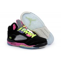 Women Air Jordan 5 Black Neon Green