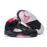 air jordan 5 SUP women basketball shoes black red Original