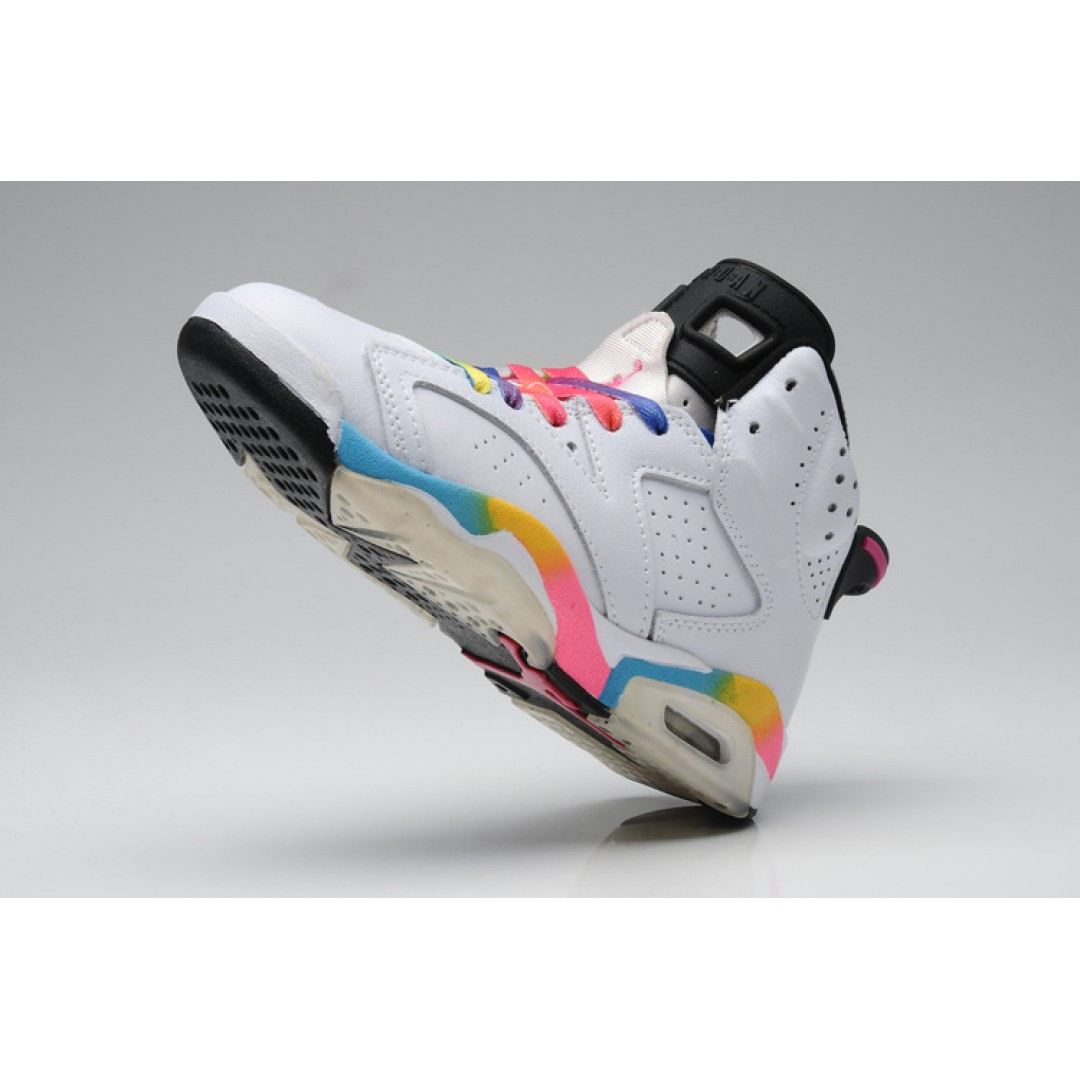 ... Women Air Jordan 6 White Rainbow