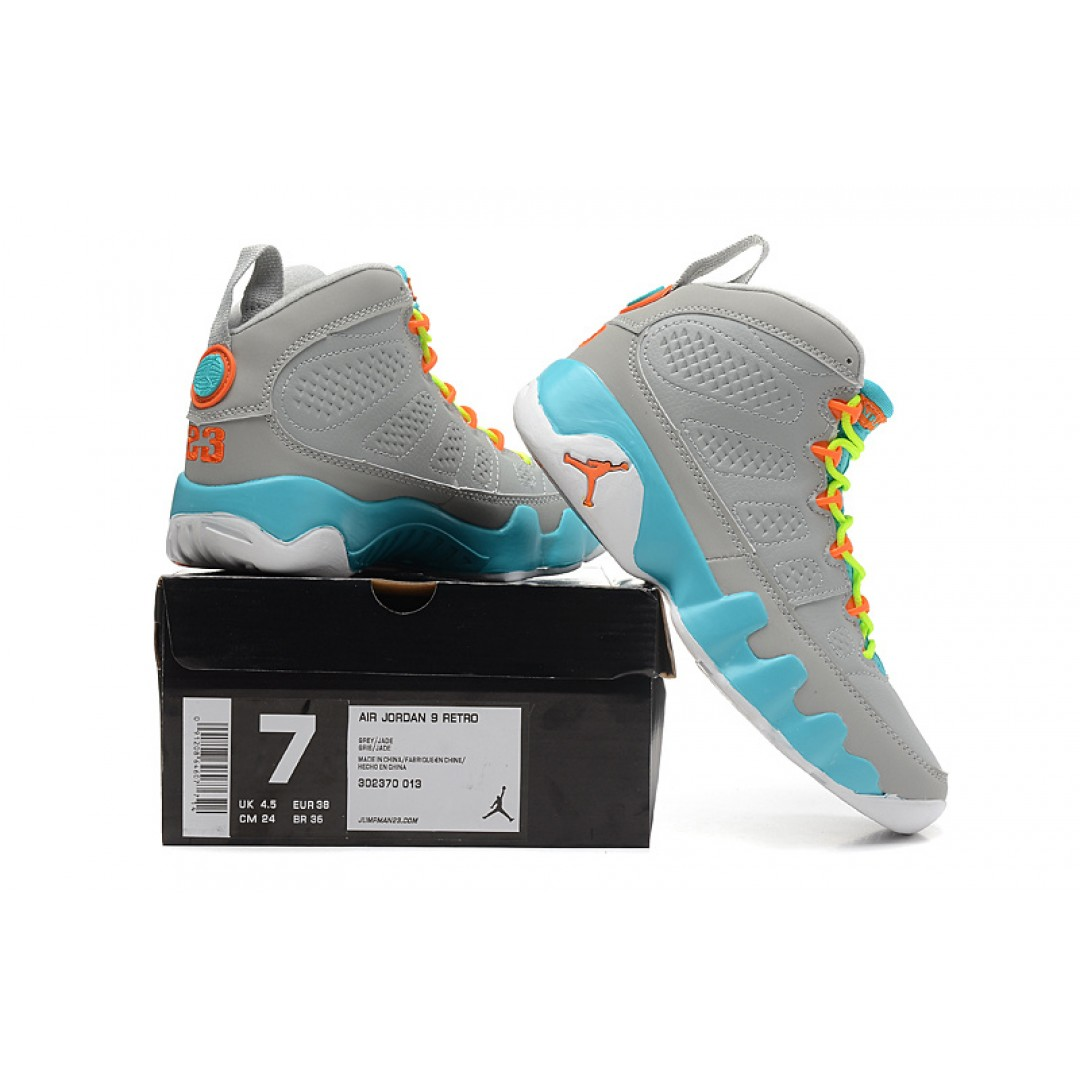 ... Women Air Jordan Retro 9 Grey Green Orange ...