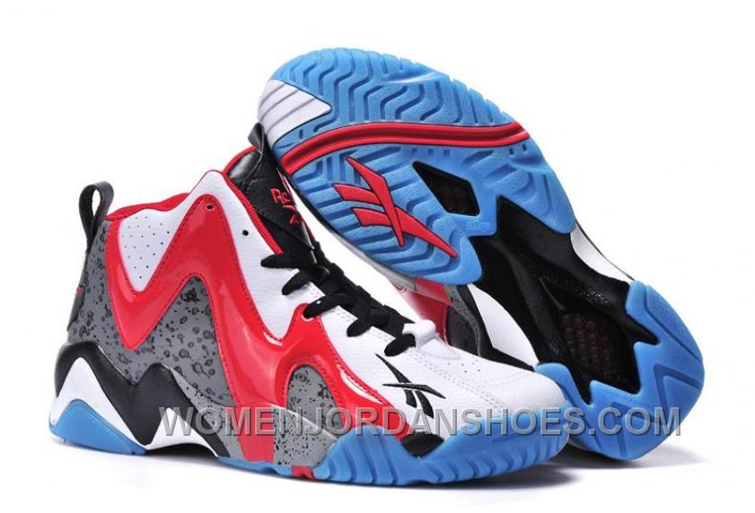 Reebok Kamikaze II Mid Mens Fashion Sneaker Basketball White Grey Red Authentic KYJeH