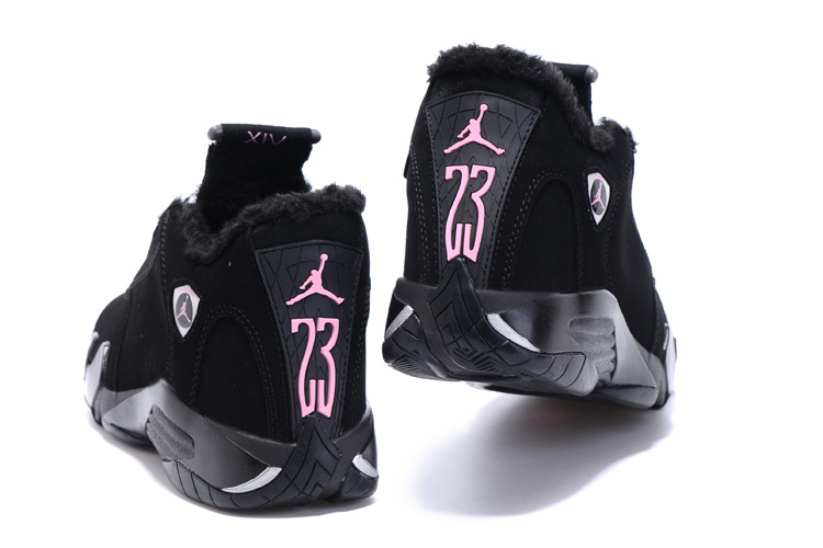 air jordan 14 women suede fur winter shoes black pink ...
