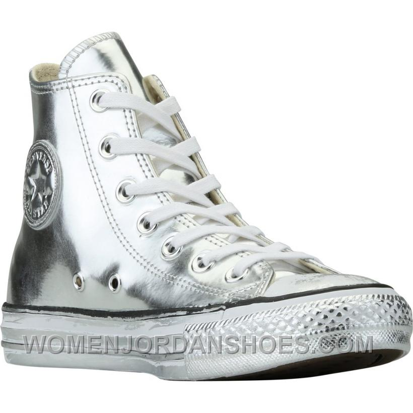 Converse Chuck Taylor All Star Chrome Leather (Womens) - Silver New Sale