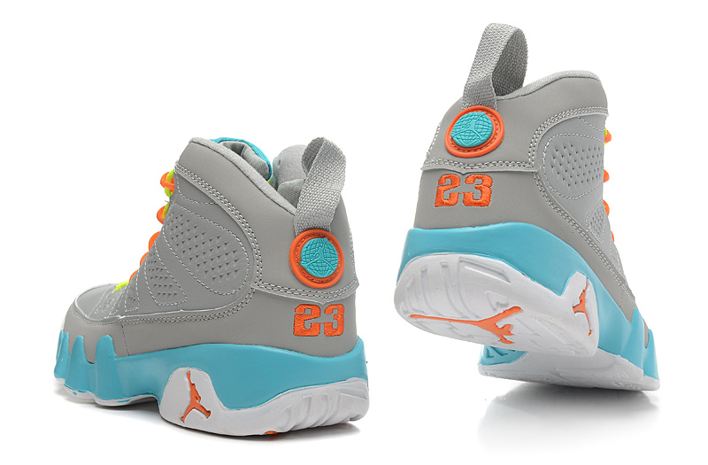Women Air Jordan Retro 9 Grey Green Orange