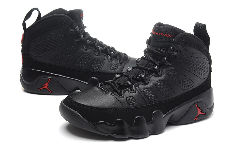 ... Women Air Jordan Retro 9 Black Basketball Shoes ...
